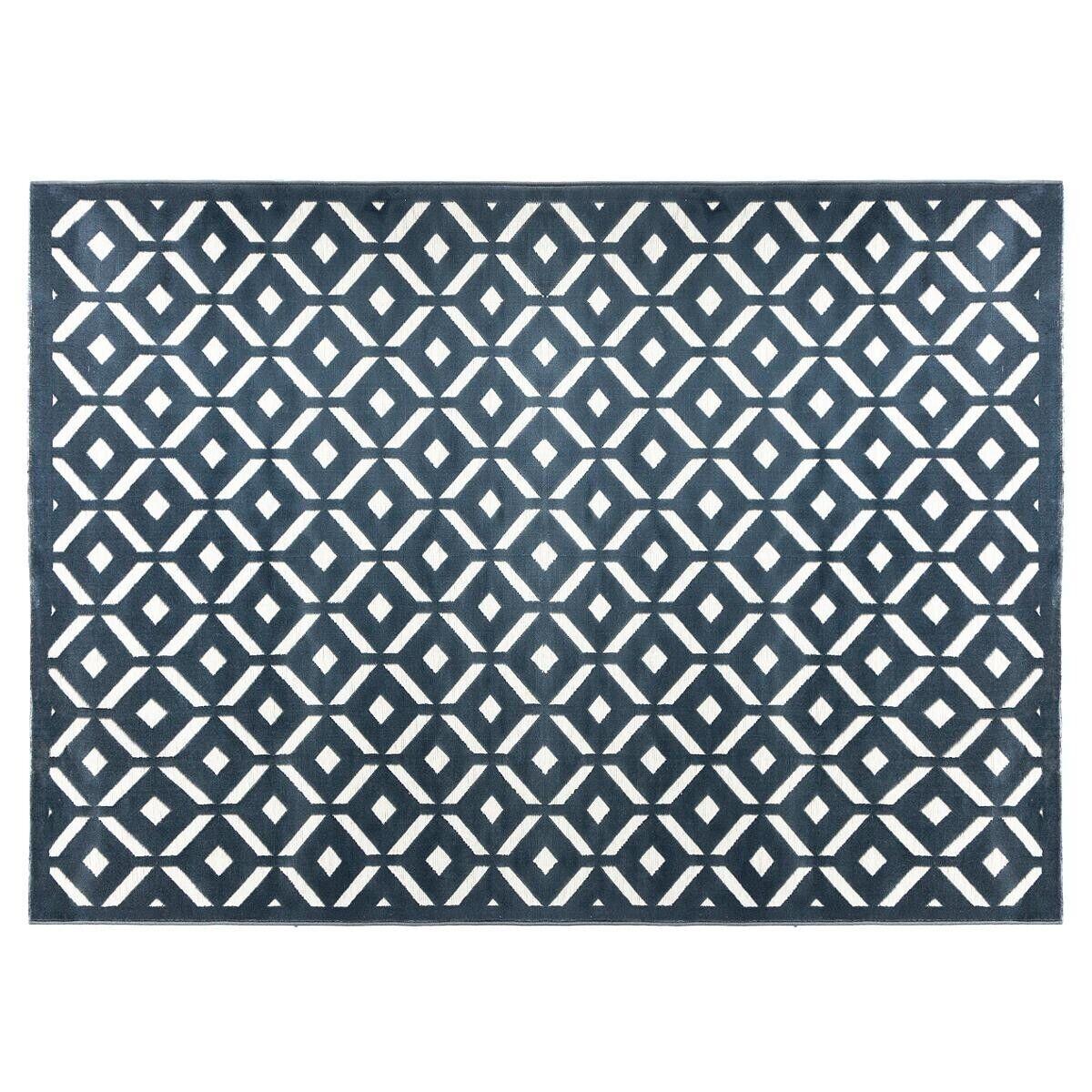 "Atmosphera Tapis ""Relief"" losange bleu et blanc 160x230 cm"