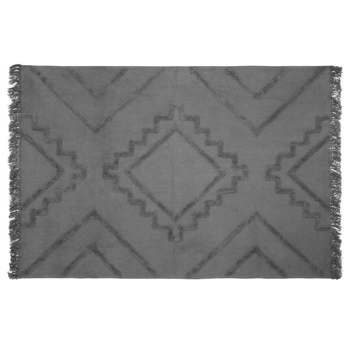 "Atmosphera Tapis en coton tufté ""Inca"" gris 120x170 cm"