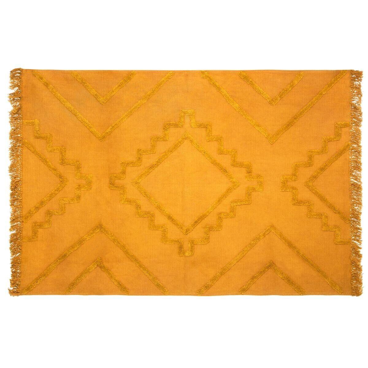 "Atmosphera Tapis en coton tufté ""Inca"" moutarde 120x170 cm"