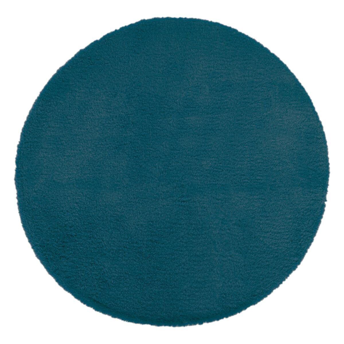 Atmosphera Tapis extra doux, effet fourrure, bleu canard D80 cm