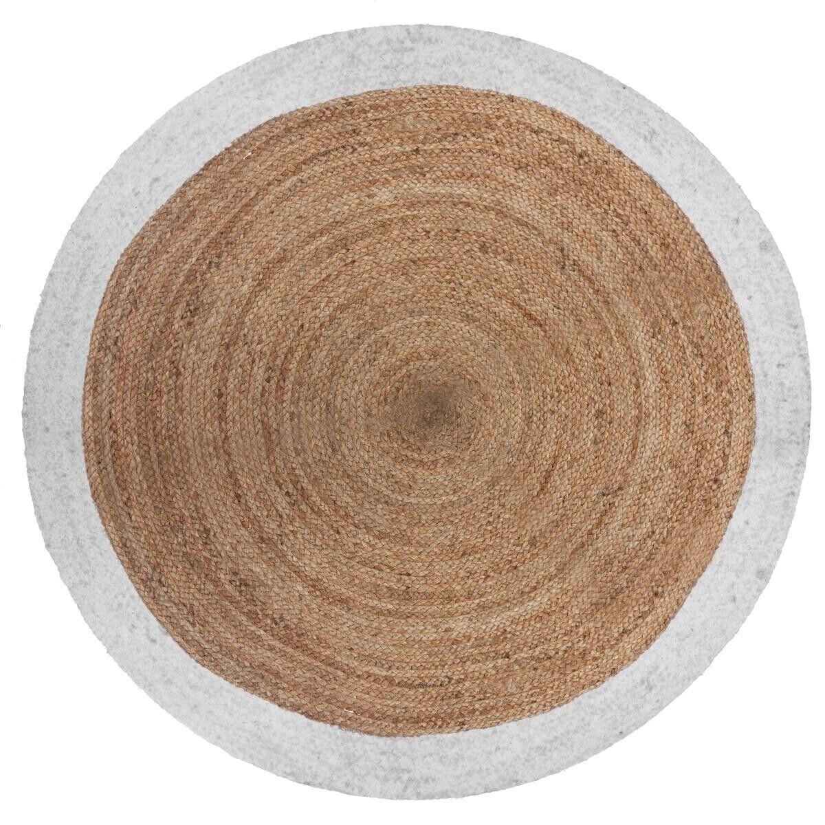 Atmosphera Tapis en jute bord blanc D120 cm