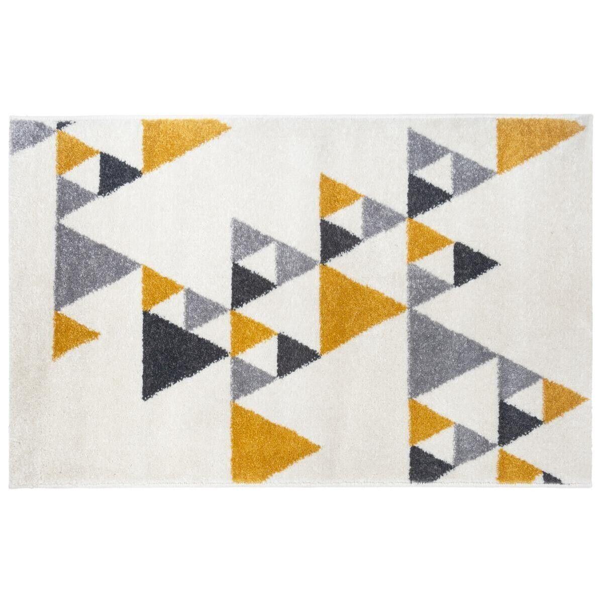 """Atmosphera Tapis """"Ilan"""" jaune et blanc 120x170 cm"""