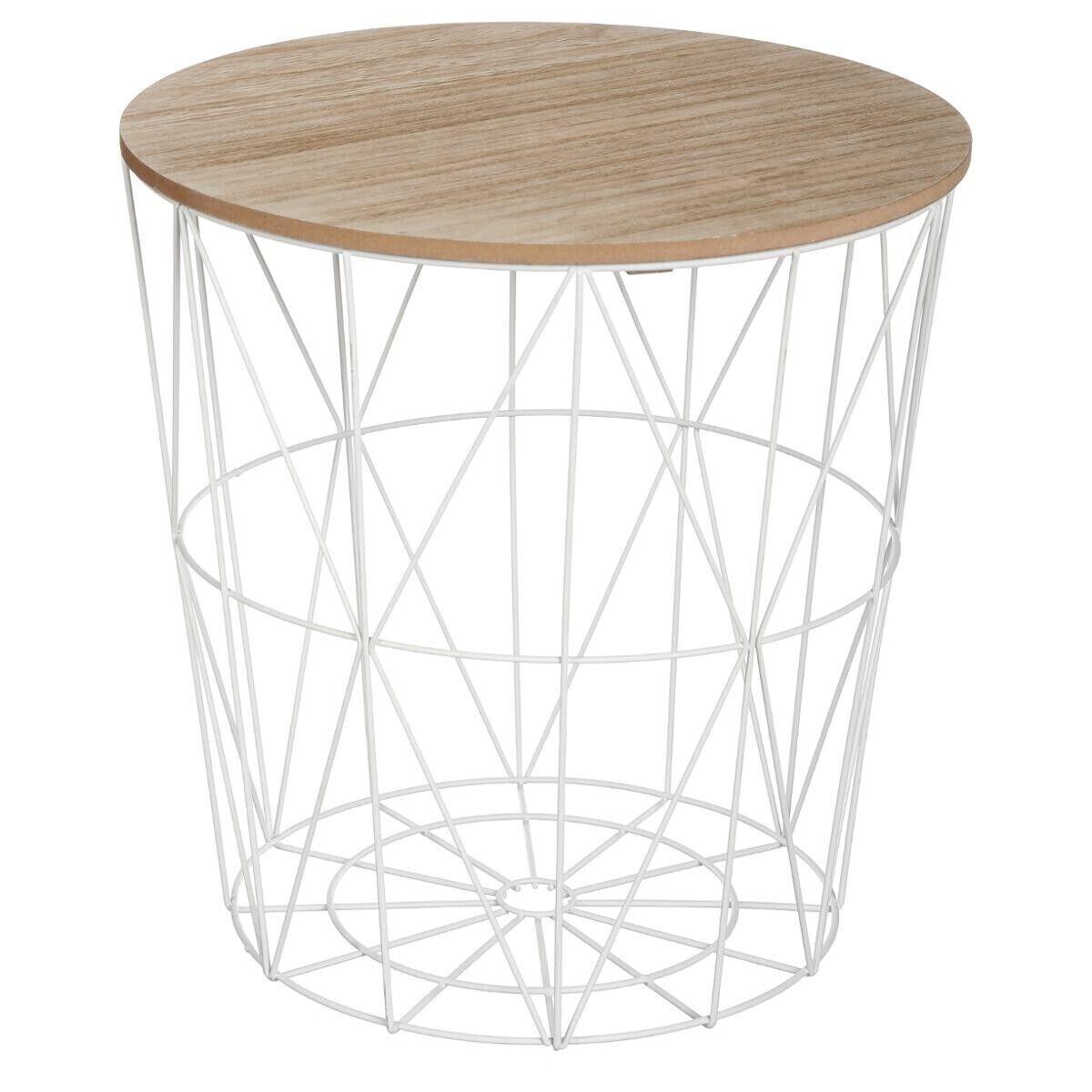 """Atmosphera Table à café """"Kumi"""" blanche D40 cm"""