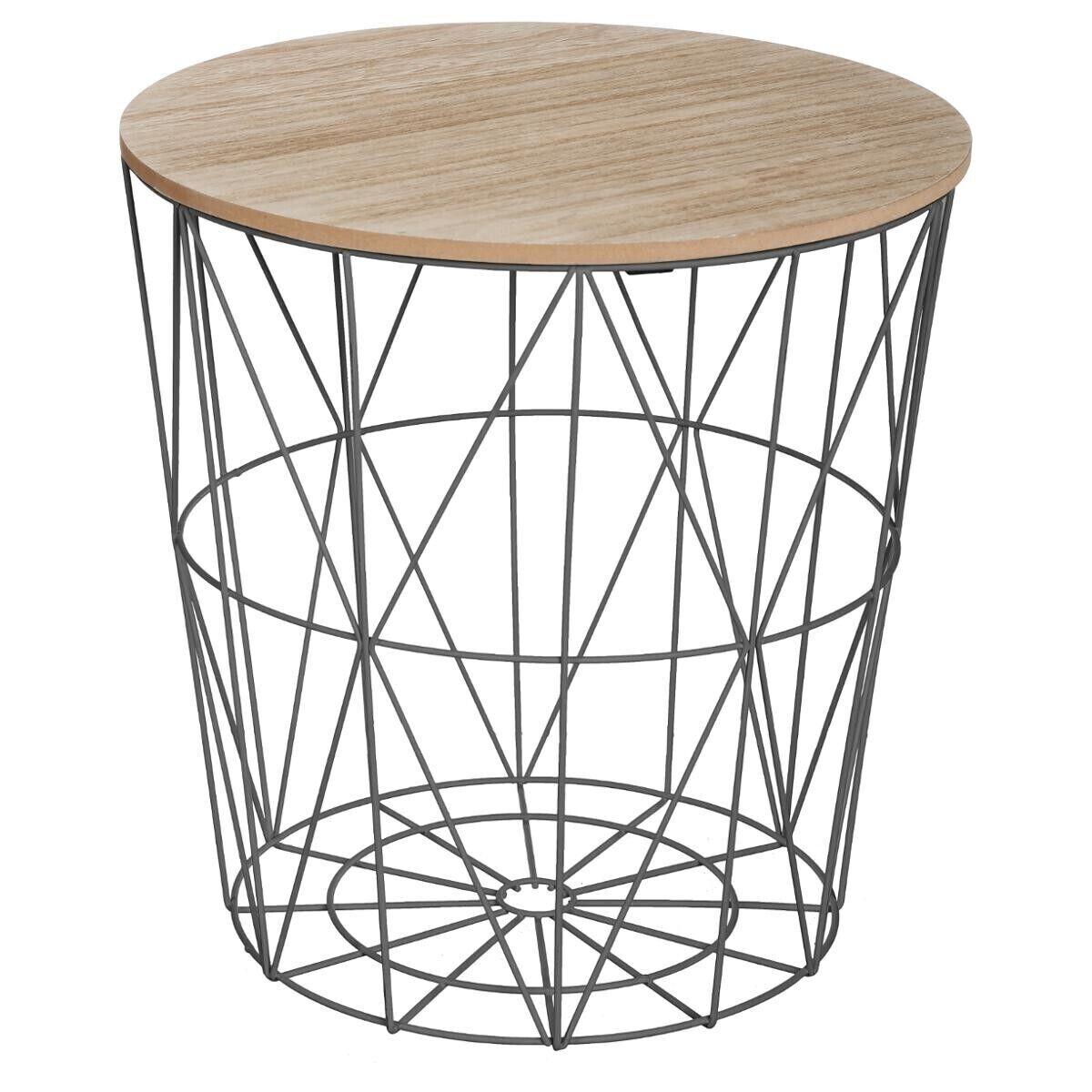 """Atmosphera Table à café Noire """"Kumi"""" en métal Moyen modèle"""