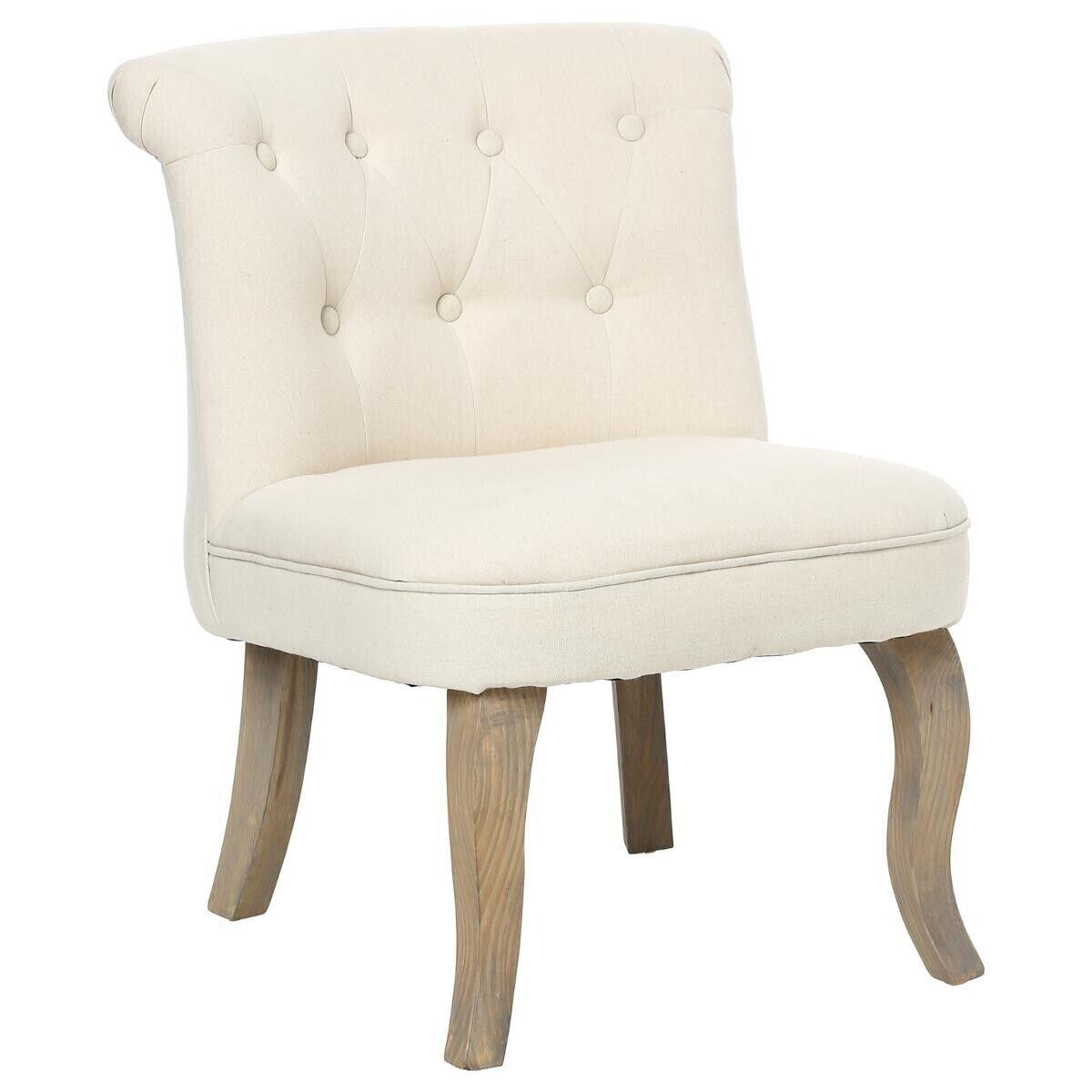 """Atmosphera Lot de 2 fauteuils effet Lin couleur beige """"Calixte"""" Petit modèle"""