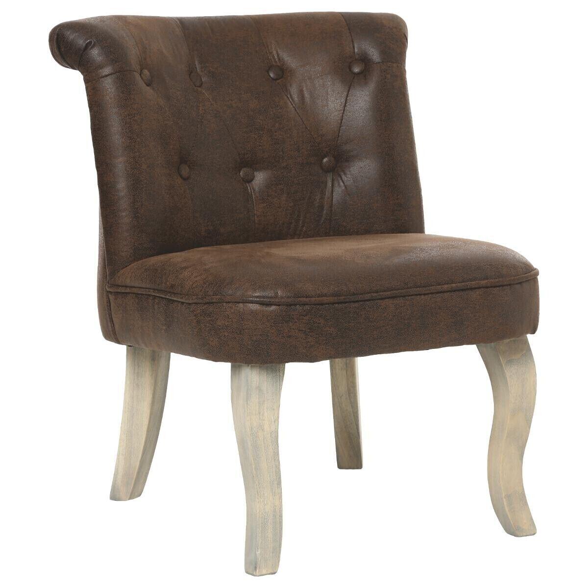 """Atmosphera Lot de 2 fauteuils effet vieilli marron """"Calixte"""" Petit modèle"""