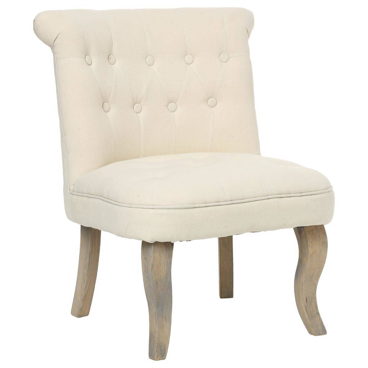 """Atmosphera Lot de 2 fauteuils effet lin couleur beige """"Calixte"""" Moyen modèle"""