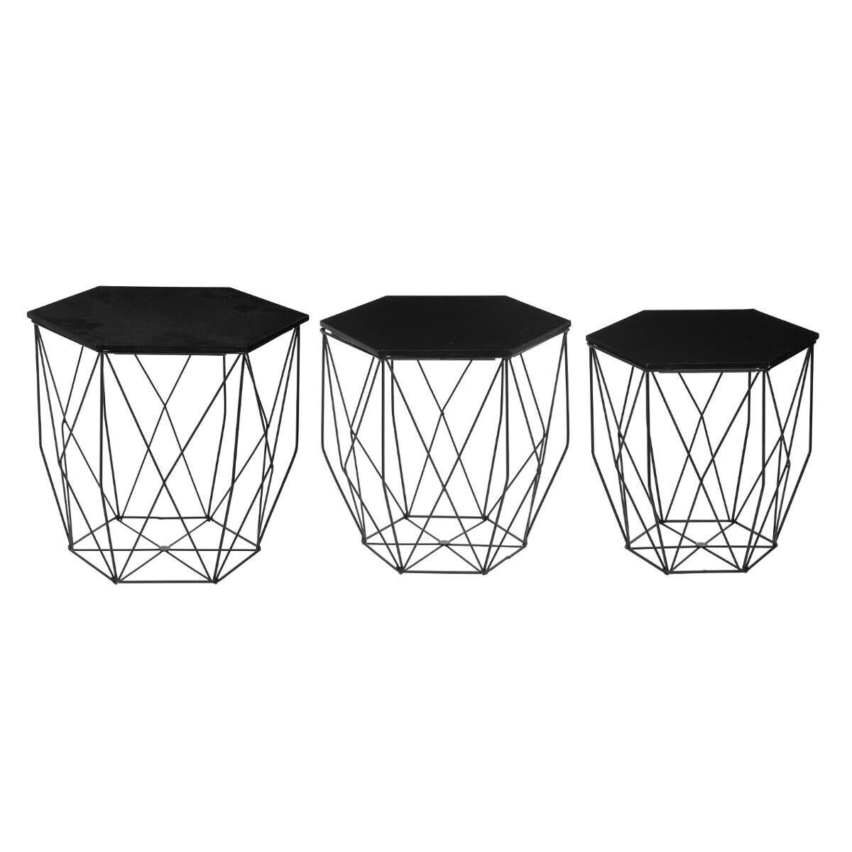 """Atmosphera Set de 3 tables à café """"Kumi"""" noir"""