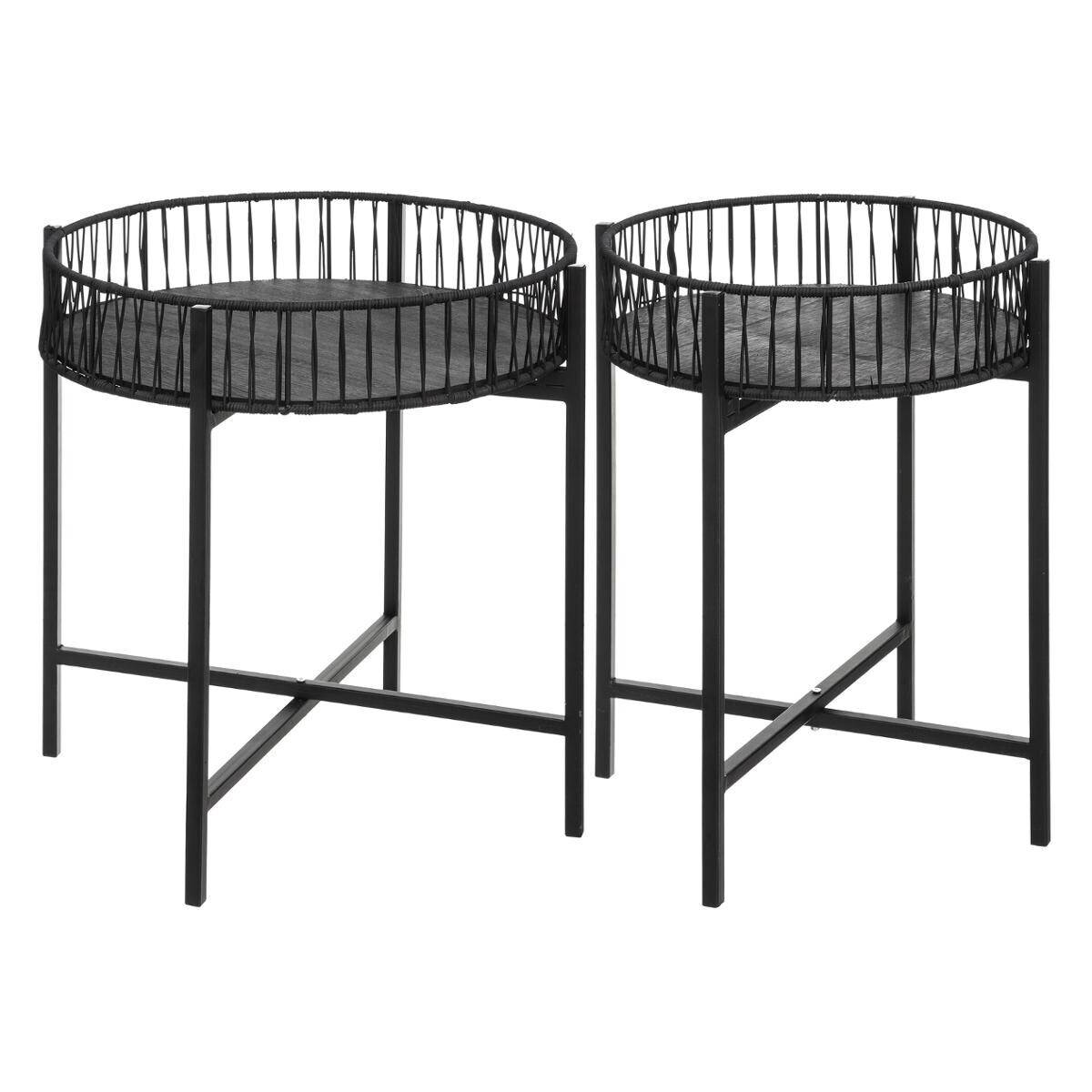 Atmosphera Set de 2 tables à café noires, métal osier