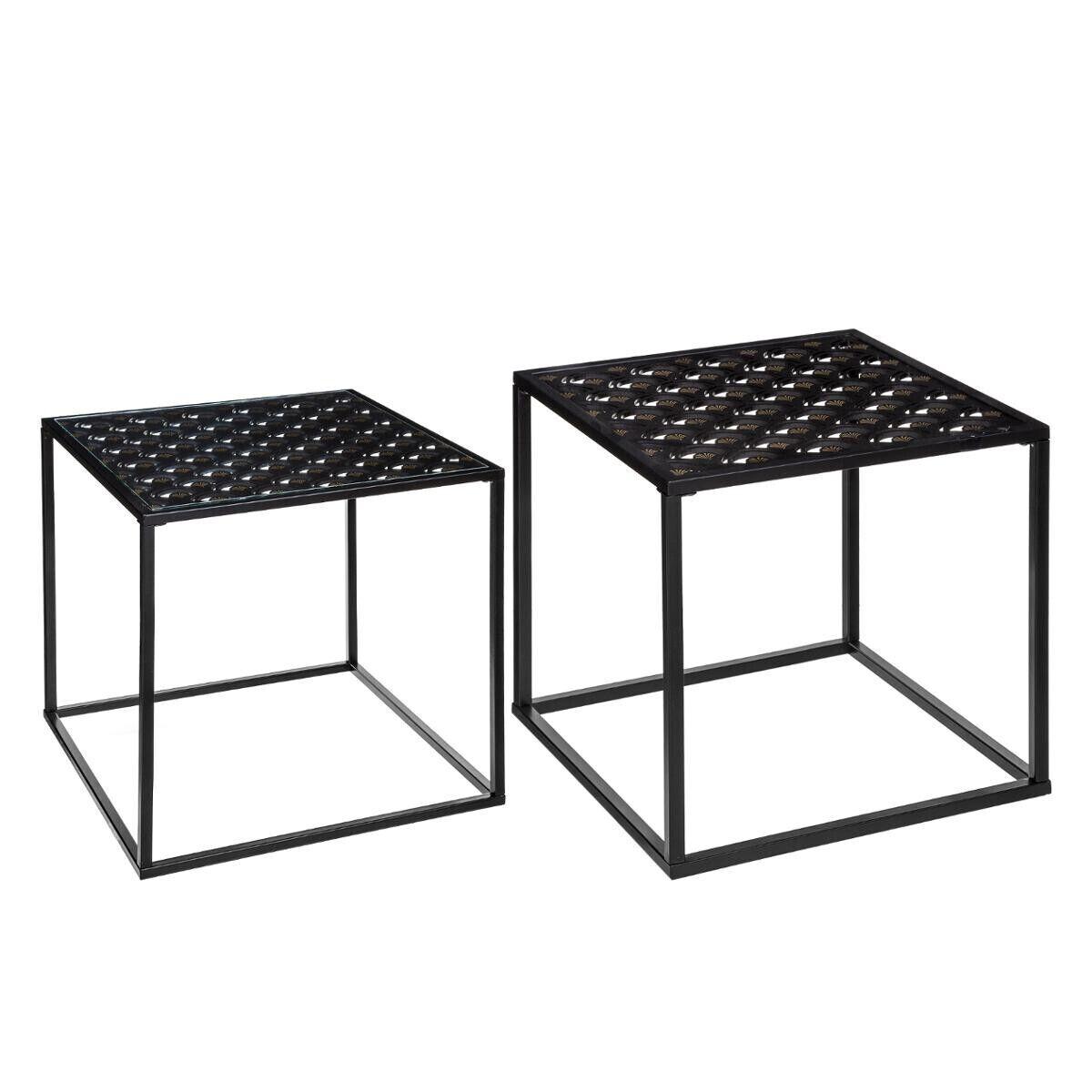 """Atmosphera Set de 2 tables à café """"Peacock"""" noires"""