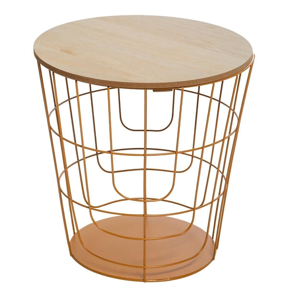 """Atmosphera Table à café """"Kumi"""" pop moutarde D40 cm"""