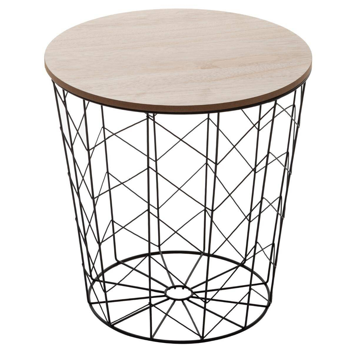 """Atmosphera Table à café """"Kumi"""" pop noire D40 cm"""