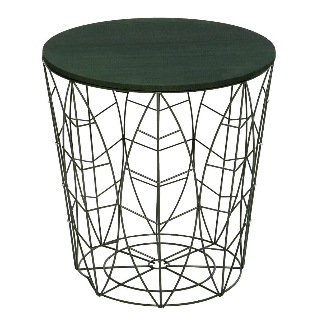 "Atmosphera Table à café ""Kumi"" feuille verte D40 cm"