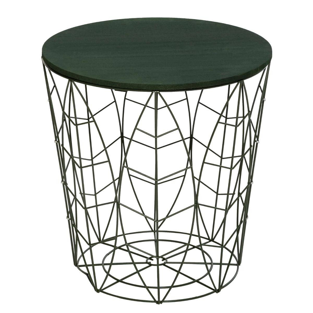 "Atmosphera Table à café ""Kumi"" feuille verte D40 cm"