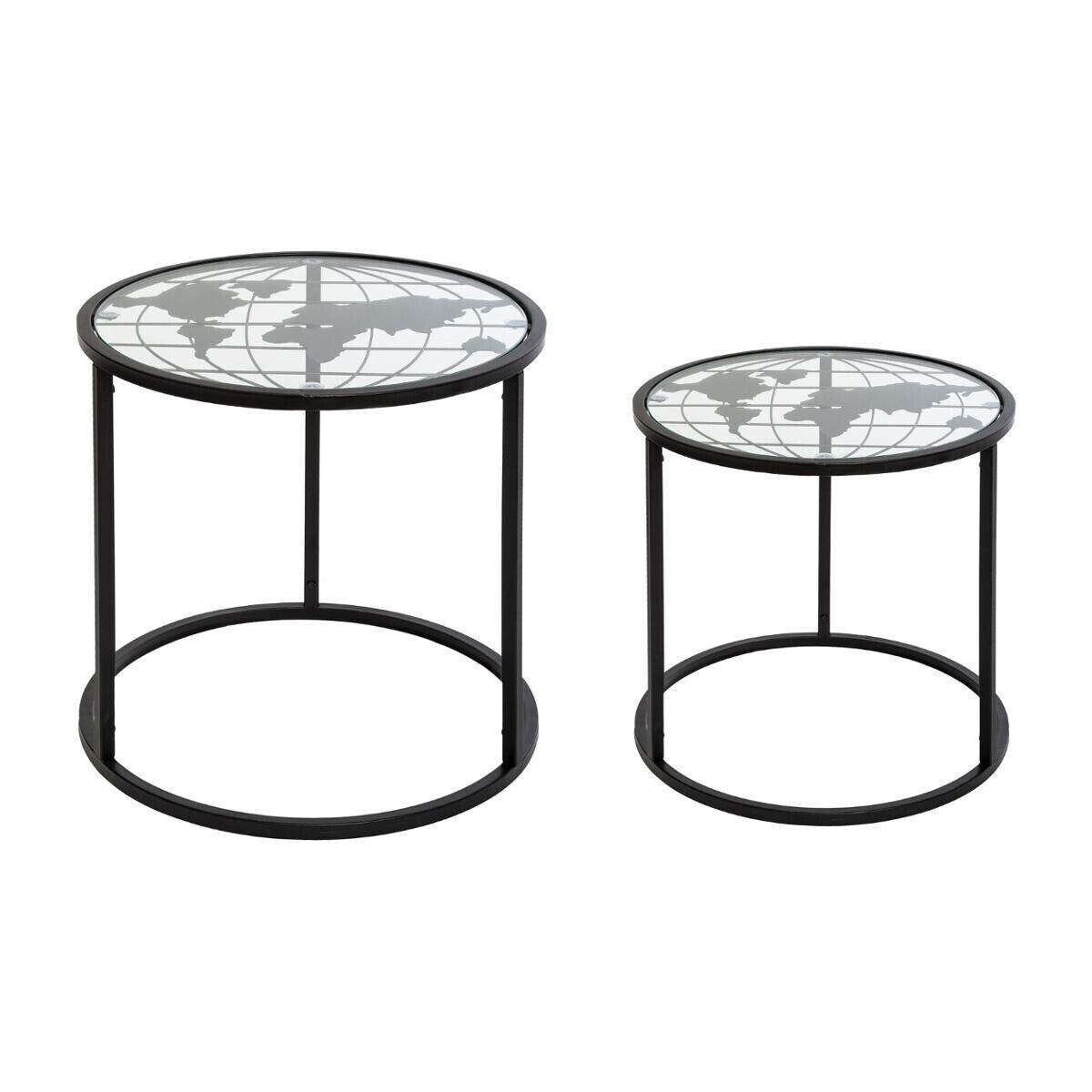 Atmosphera Set de 2 tables à café en métal noir