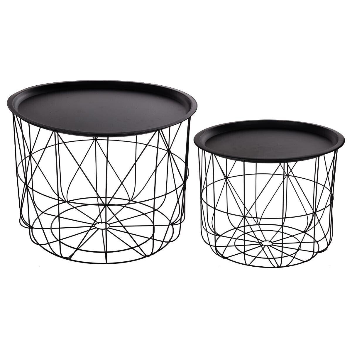 """Atmosphera Set de 2 tables à café """"Matt"""" noir, métal filaire"""