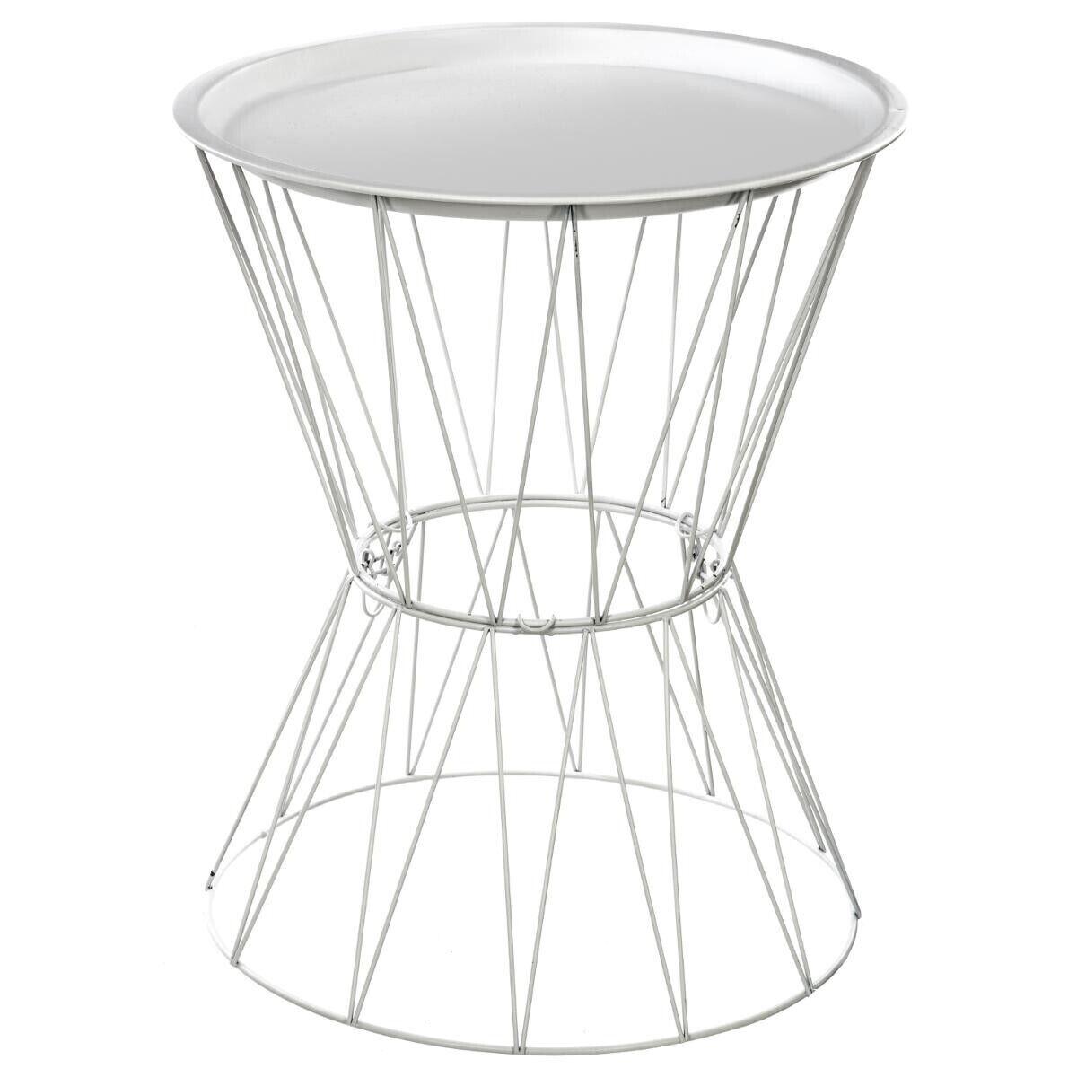 """Atmosphera Table à café """"Kate"""" blanche, métal filaire"""