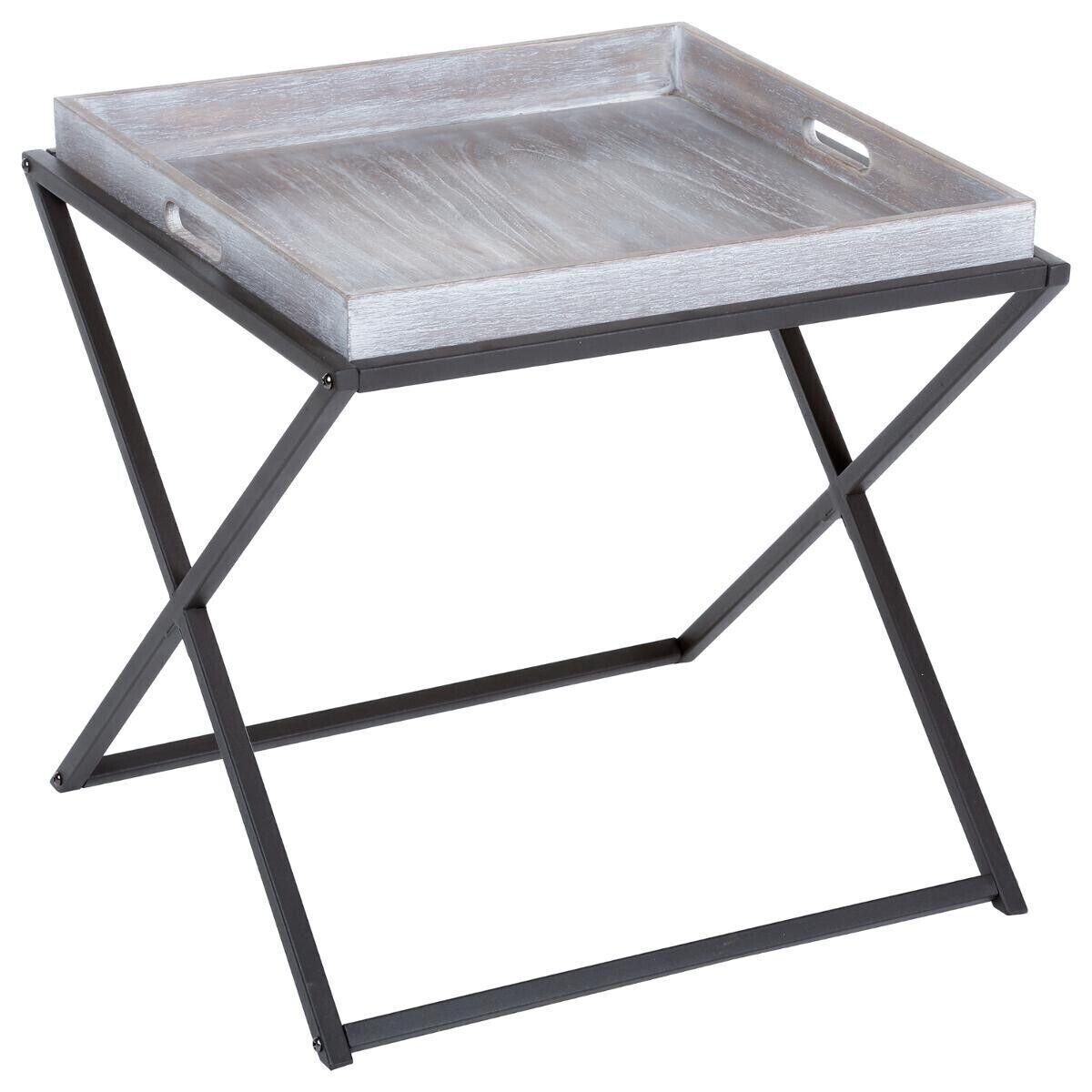 Atmosphera Table à café pliable, métal bois