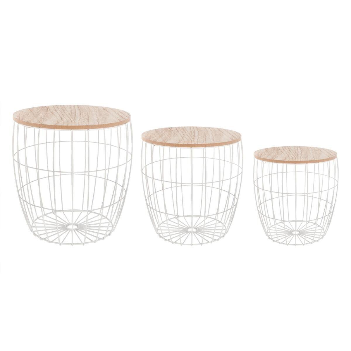 Atmosphera Set de 3 tables à café, métal bois