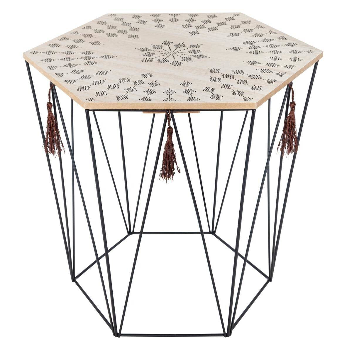 "Atmosphera Table à café ""Kumi"" octogonale, métal bois"