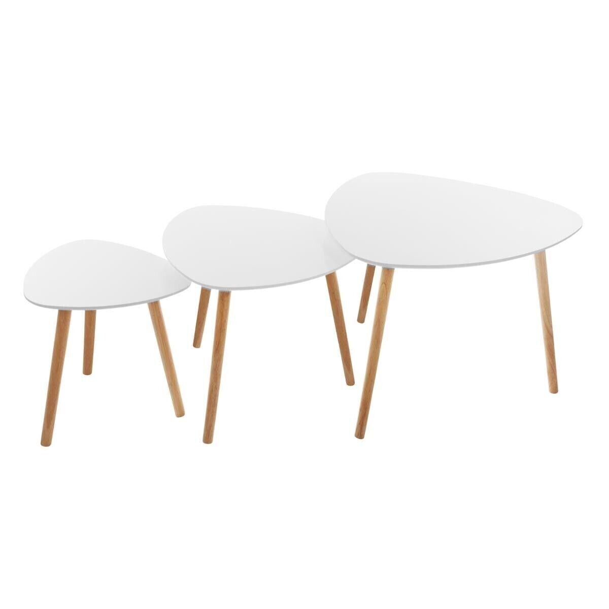 """Atmosphera Set de 3 tables à café """"Mileo"""" blanc"""