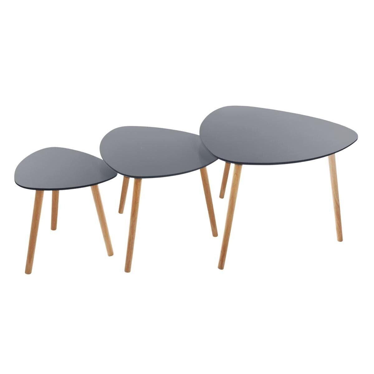 """Atmosphera Set de 3 tables à café """"Mileo"""" grises"""