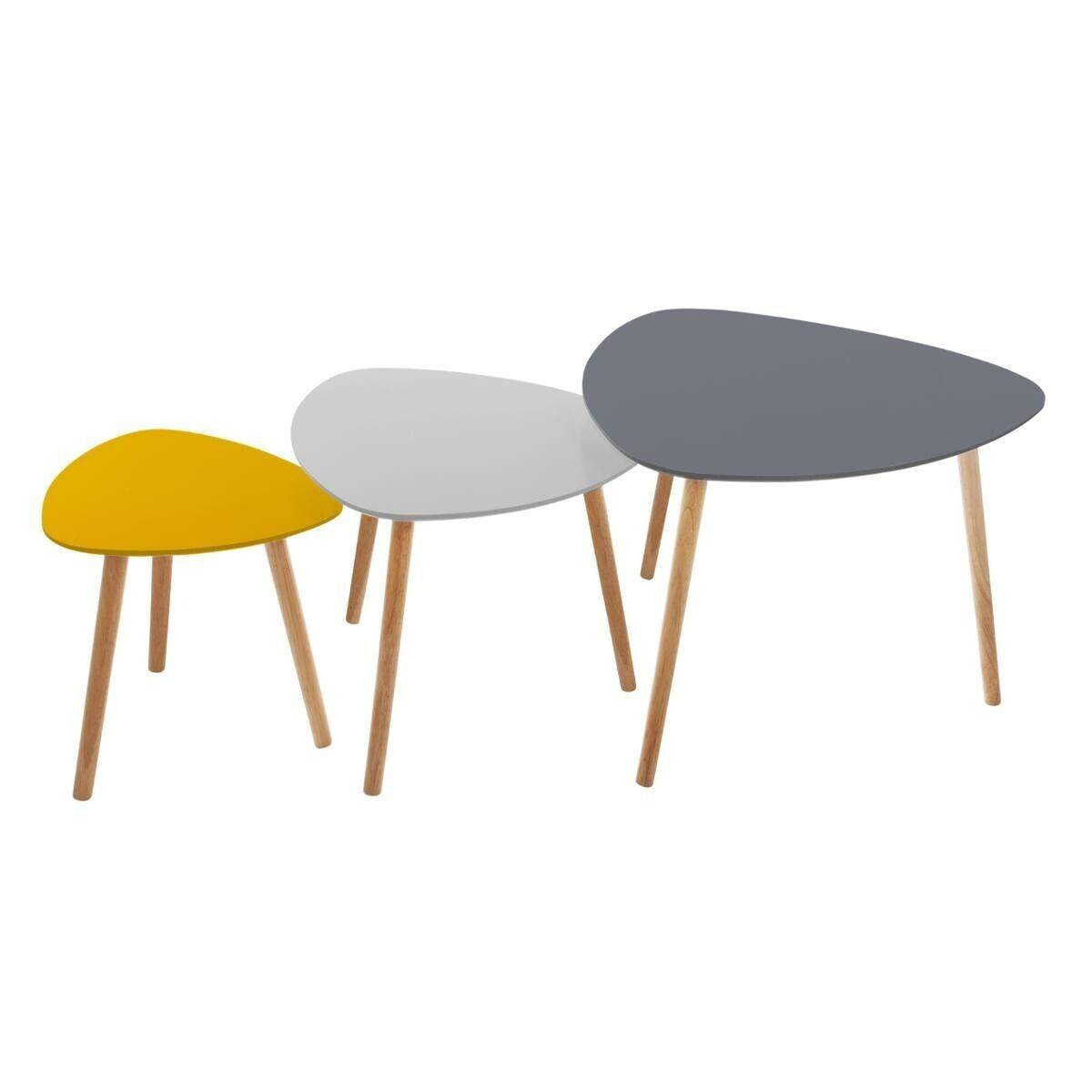 "Atmosphera Set de 3 tables à café ""Mileo Break"""