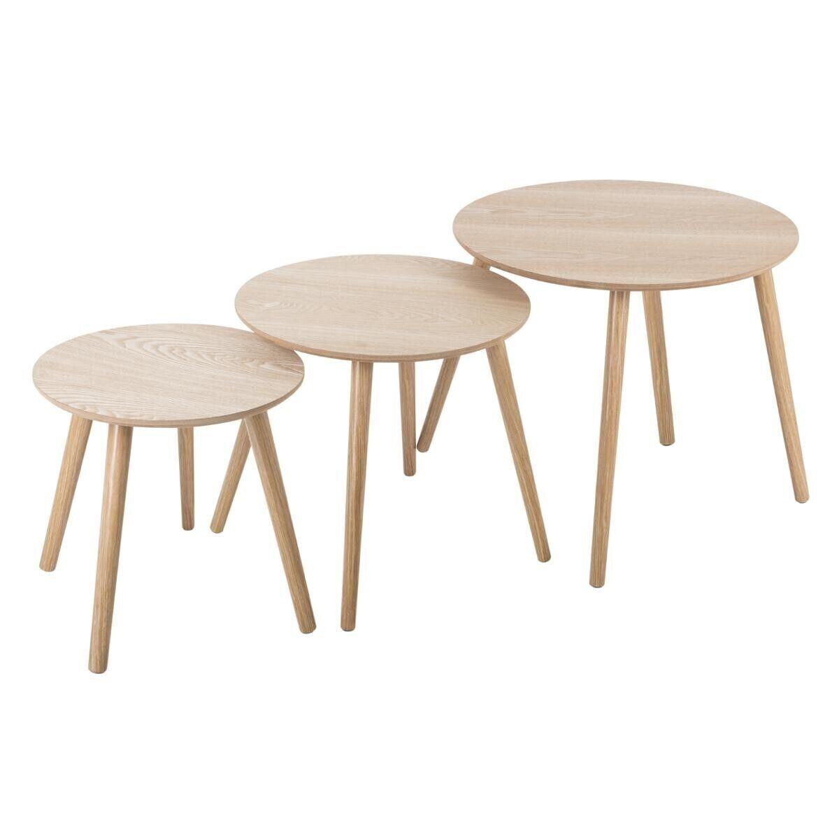 """Atmosphera Set de 3 tables à café rondes """"Mileo"""", bois naturel"""