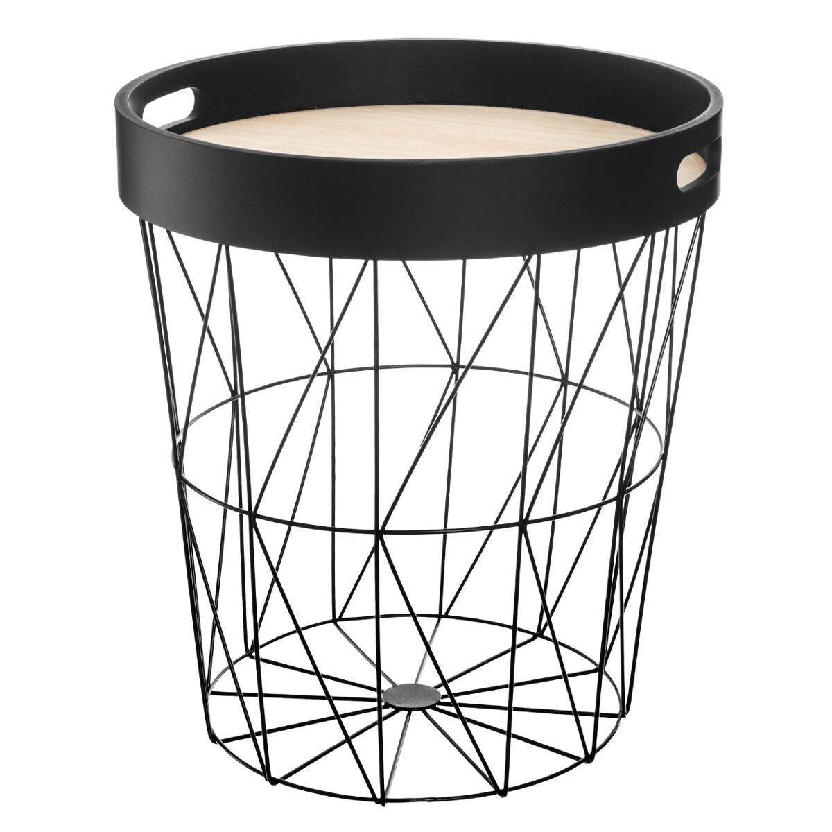 """Atmosphera Table à café """"Kumi"""" plateau noir D35 cm"""