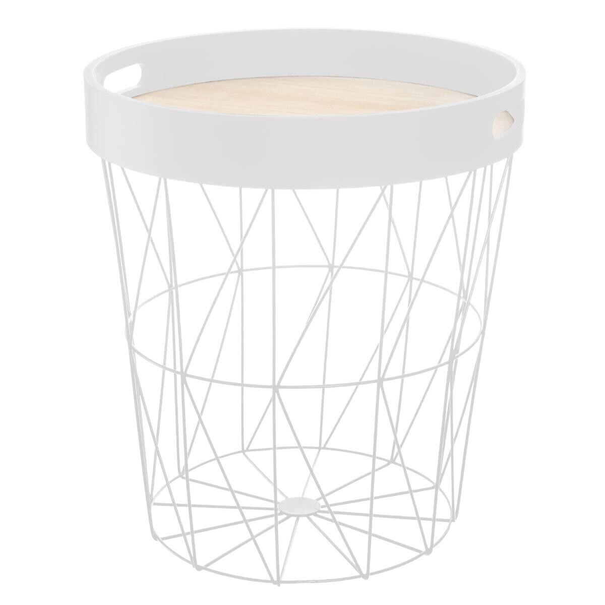 """Atmosphera Table à café """"Kumi"""" plateau blanc D35 cm"""
