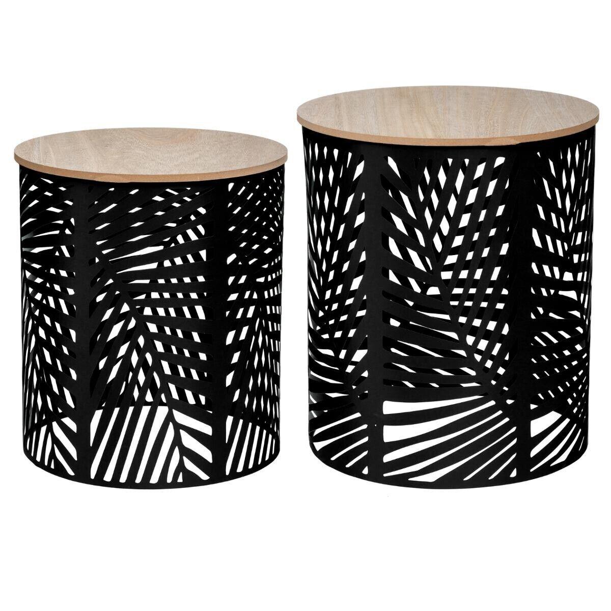 """Atmosphera Set de 2 tables à café """"Feuilles"""" noir"""