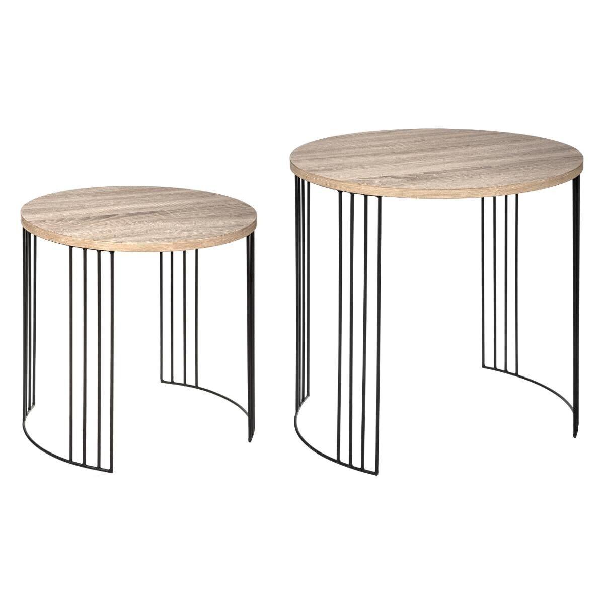 "Atmosphera Lot de 2 tables d'appoint gigognes ""Neile"" en bois fer"