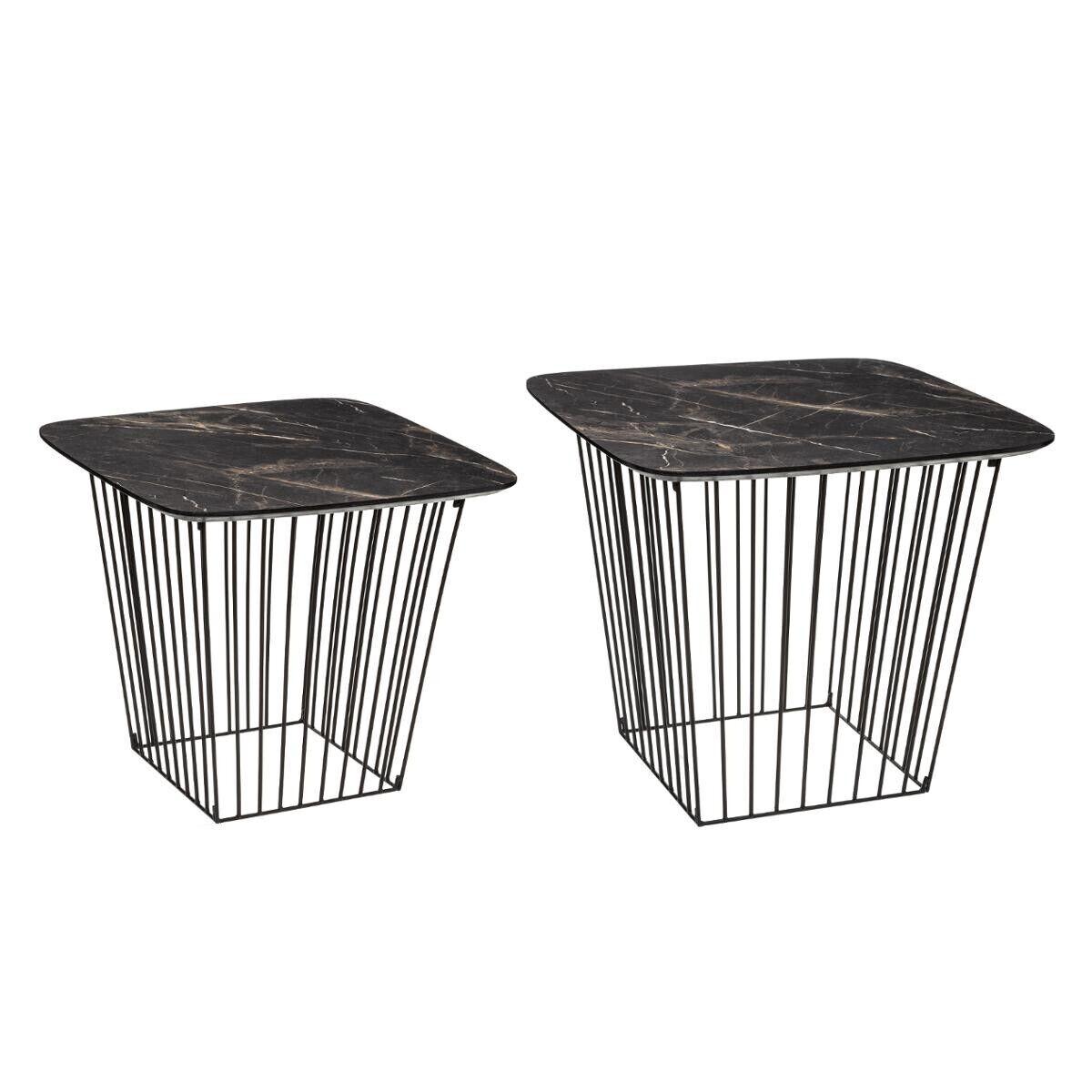 "Atmosphera Lot de 2 tables d'appoint gigognes ""Marble"" en bois fer"