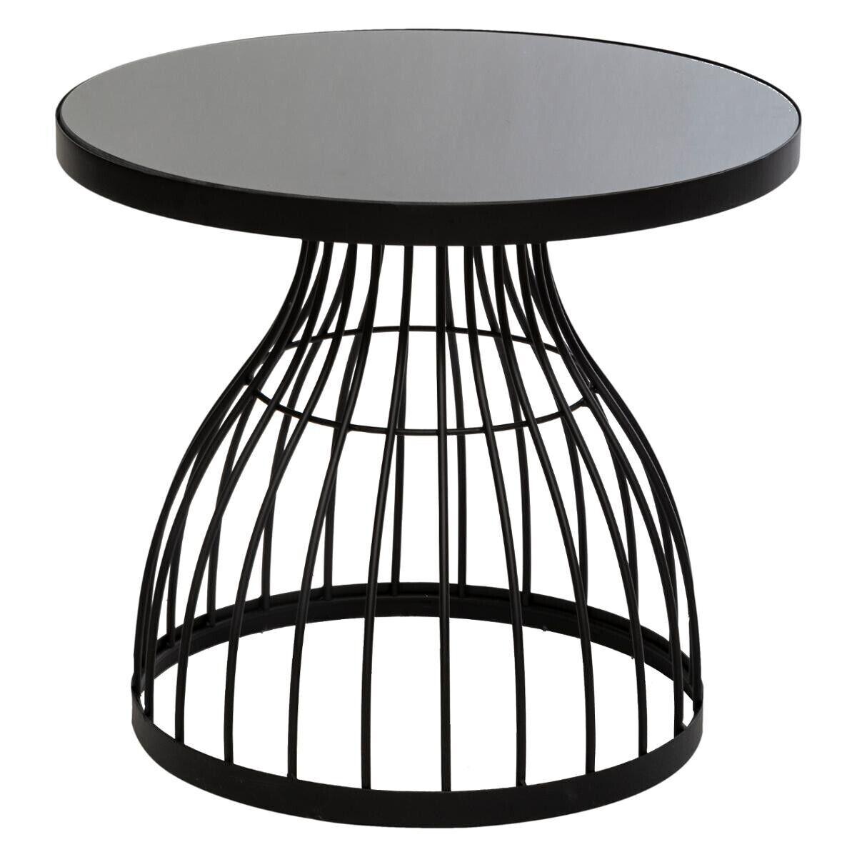 """Atmosphera Table d'appoint Noire """"Kushi"""" en verre D55"""