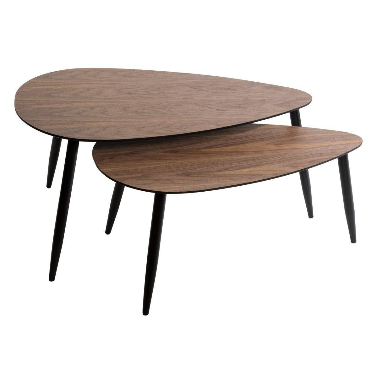 """Atmosphera Lot de 2 tables effet noyer """"Mileo"""" Grand modèle"""