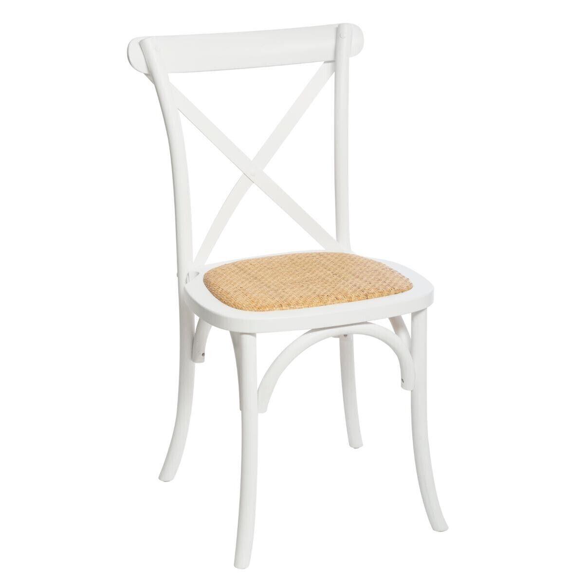 """Atmosphera Chaise de bistrot Blanche """"Isak"""" en bois de chêne"""