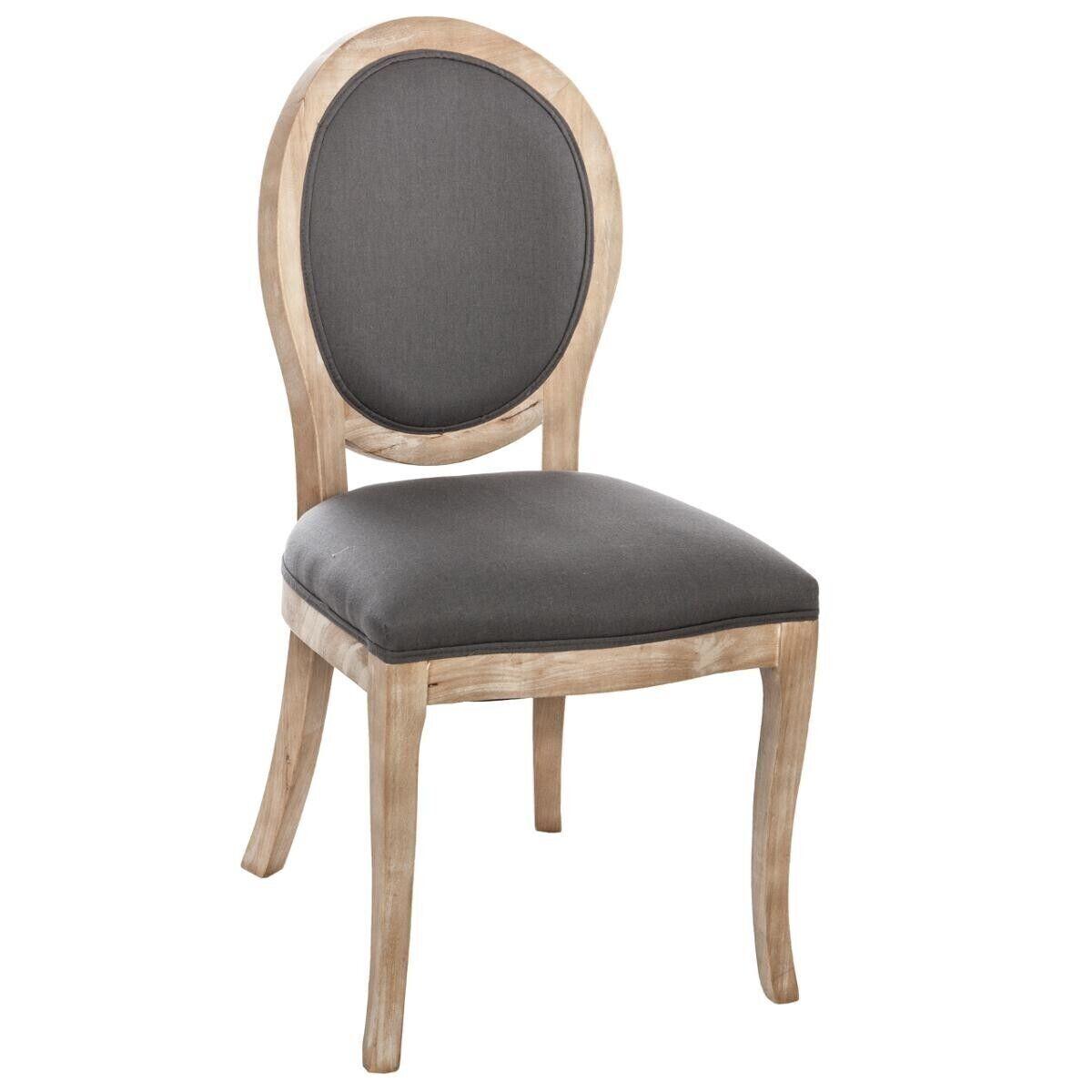 """Atmosphera Lot de 2 chaises grises """"Cléon"""" en bois naturel"""