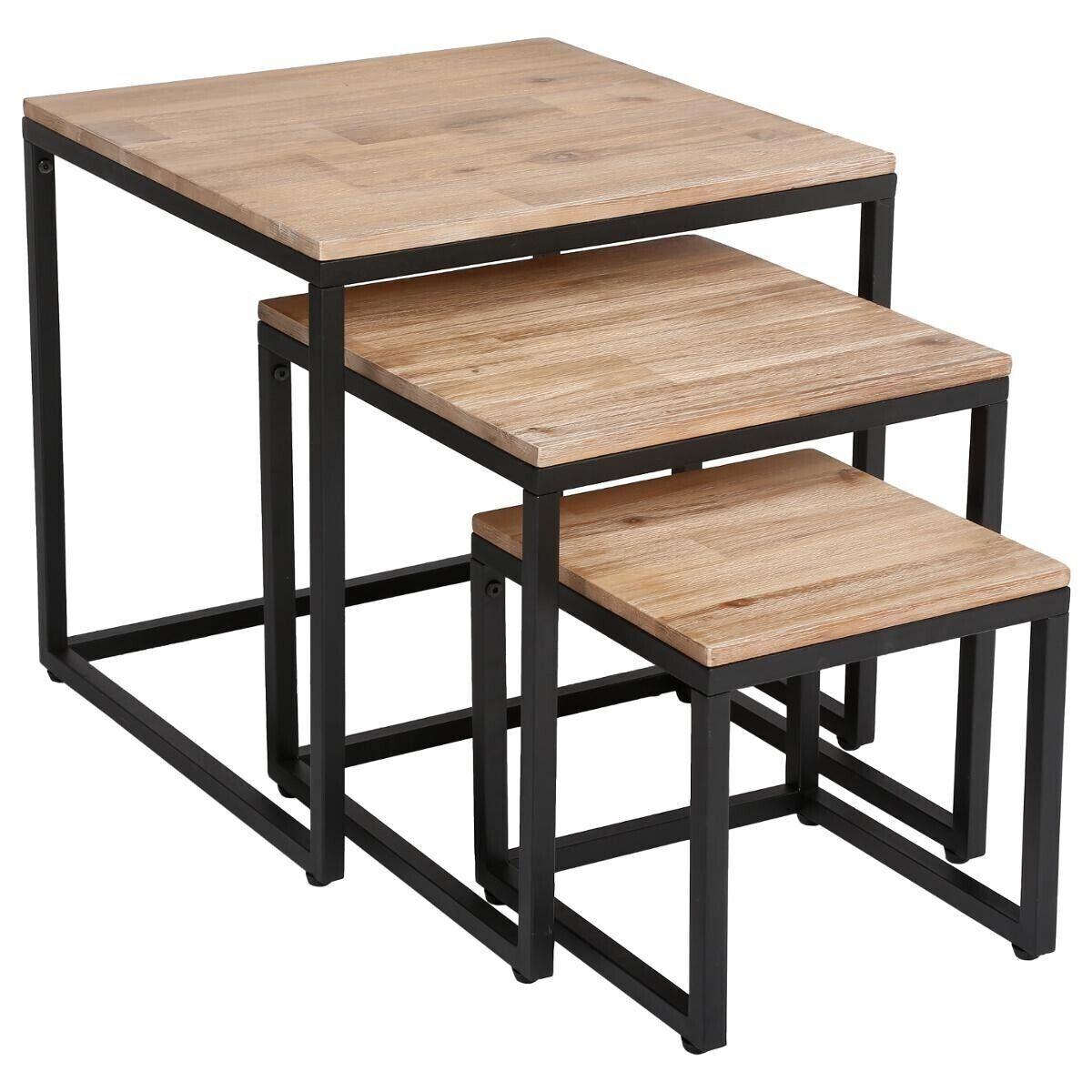 """Atmosphera Lot de 3 Tables basses """"Edena"""" en bois d'acacia"""
