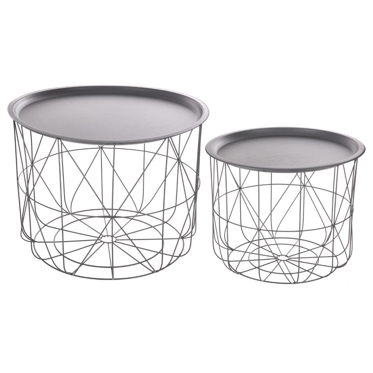 """Atmosphera Table à café grise """"Matt"""" en métal"""