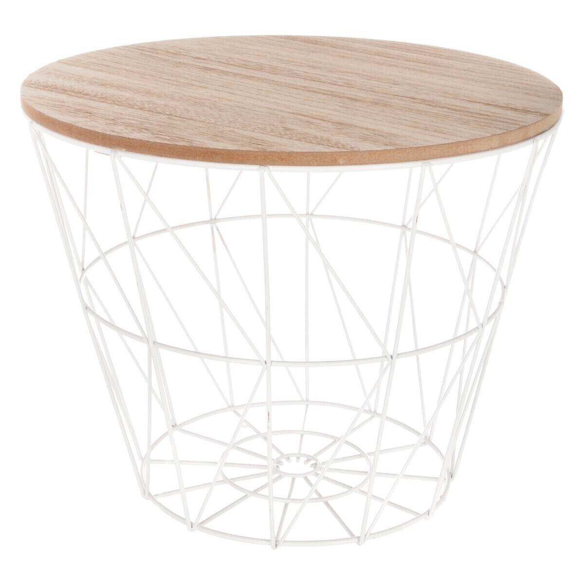 """Atmosphera Table à café Blanche """"Kumi"""" en métal Petit modèle"""