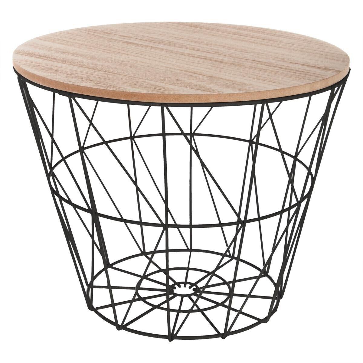 """Atmosphera Table à café Noire """"Kumi"""" en métal Petit modèle"""