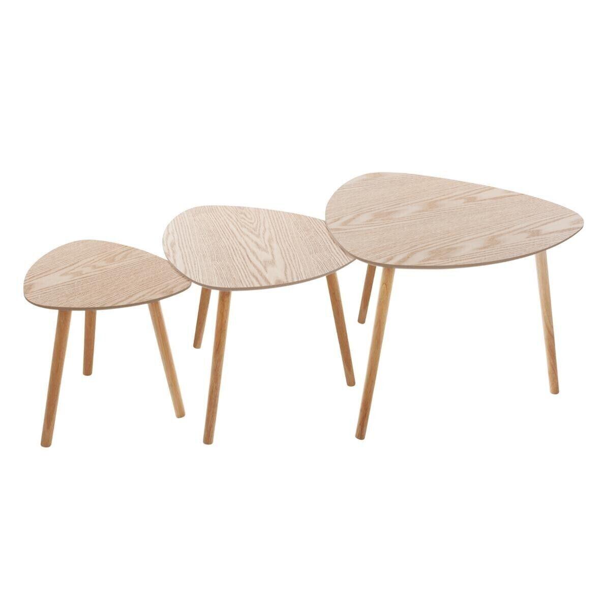"""Atmosphera Lot de 3 tables à café Beige bois """"Mileo"""""""