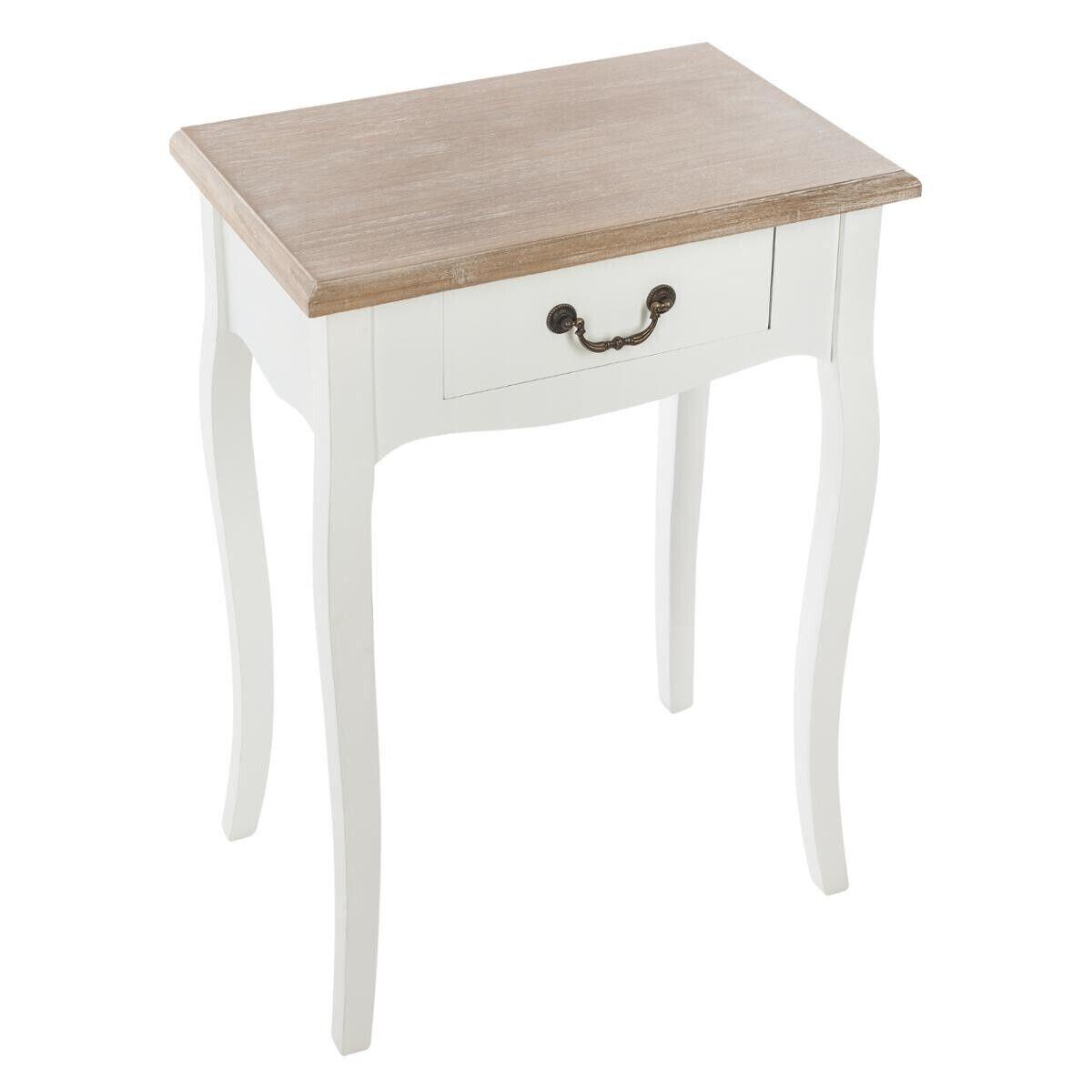 "Atmosphera Table de chevet ""Chrysa"" Blanche en bois naturel 1 tiroir"