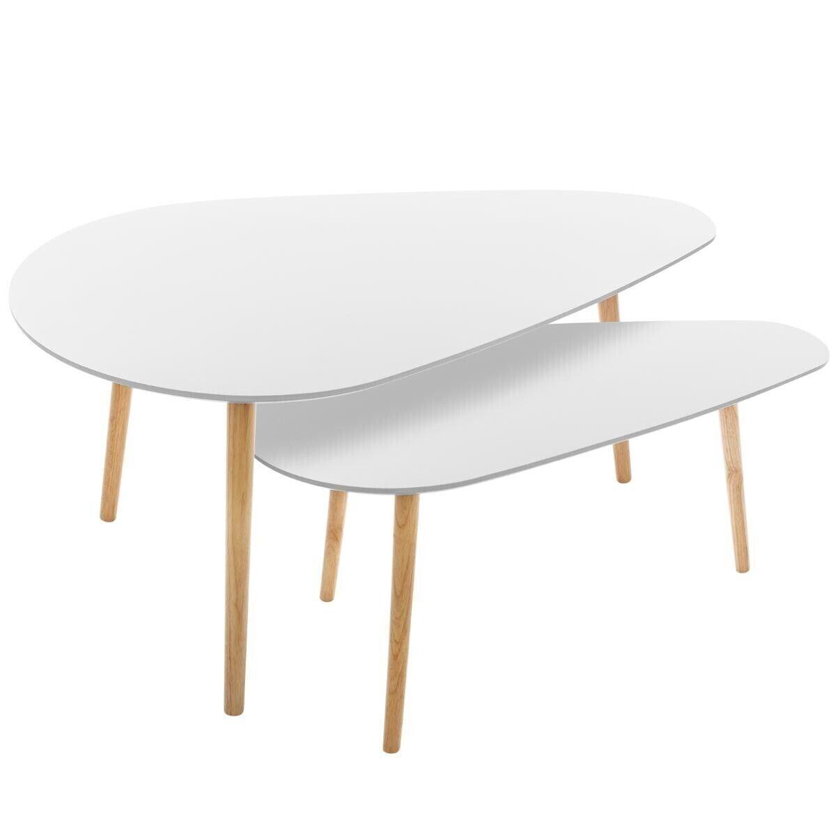 """Atmosphera Lot de 2 tables à café Blanches """"Mileo"""""""