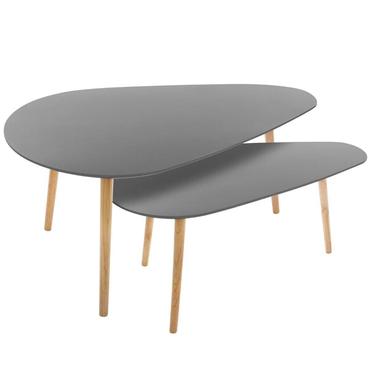 """Atmosphera Lot de 2 tables à café Grises """"Mileo"""" Grand modèle"""