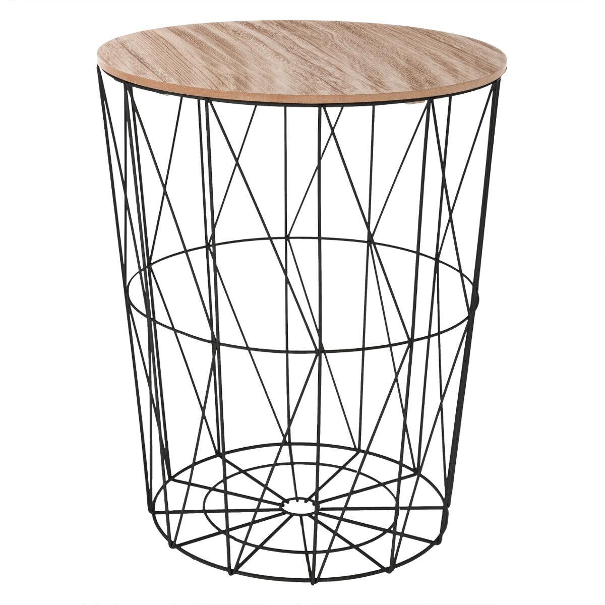 """Atmosphera Table à café Noire """"Kumi"""" en métal Grand modèle"""