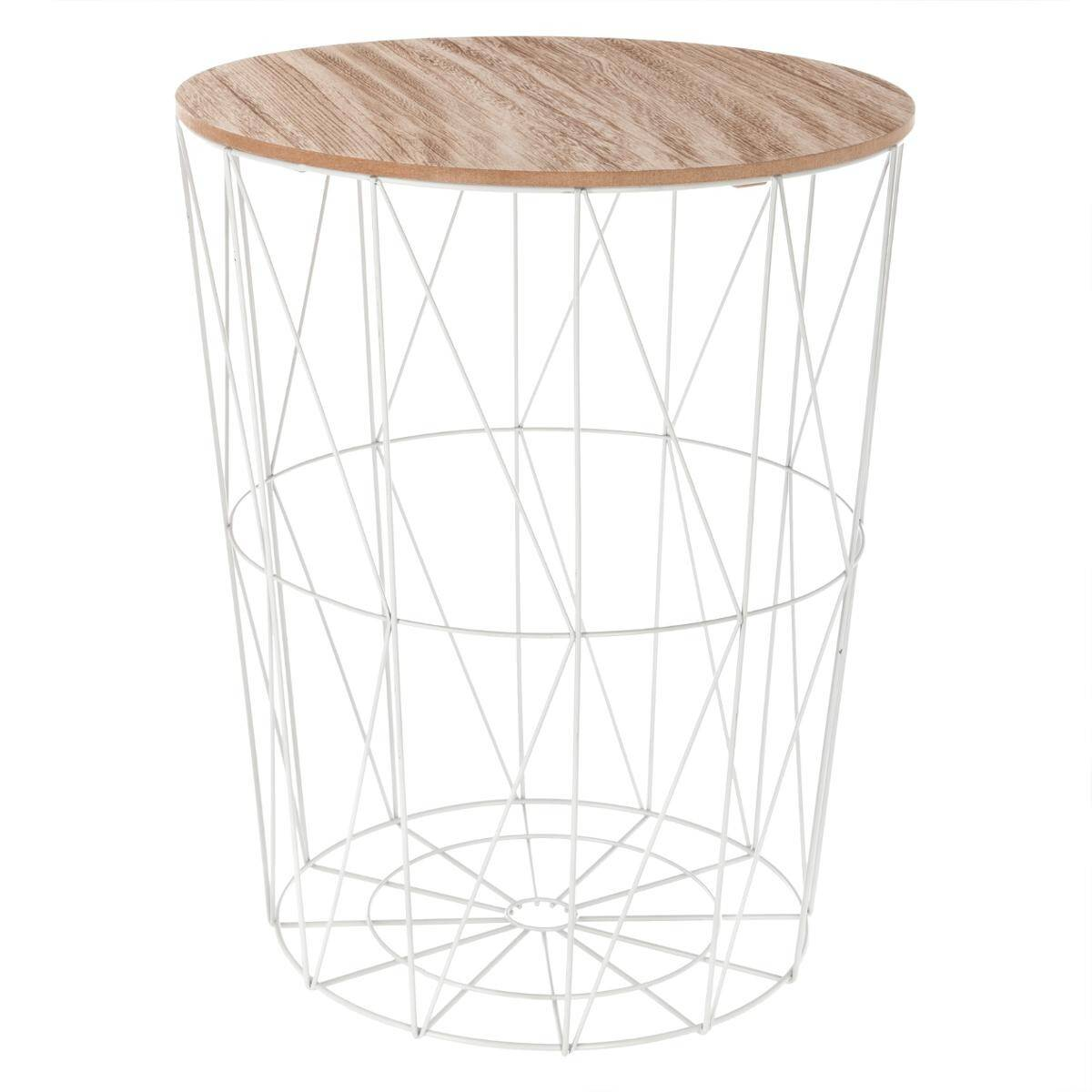 """Atmosphera Table à café Blanche """"Kumi"""" en métal Grand modèle"""