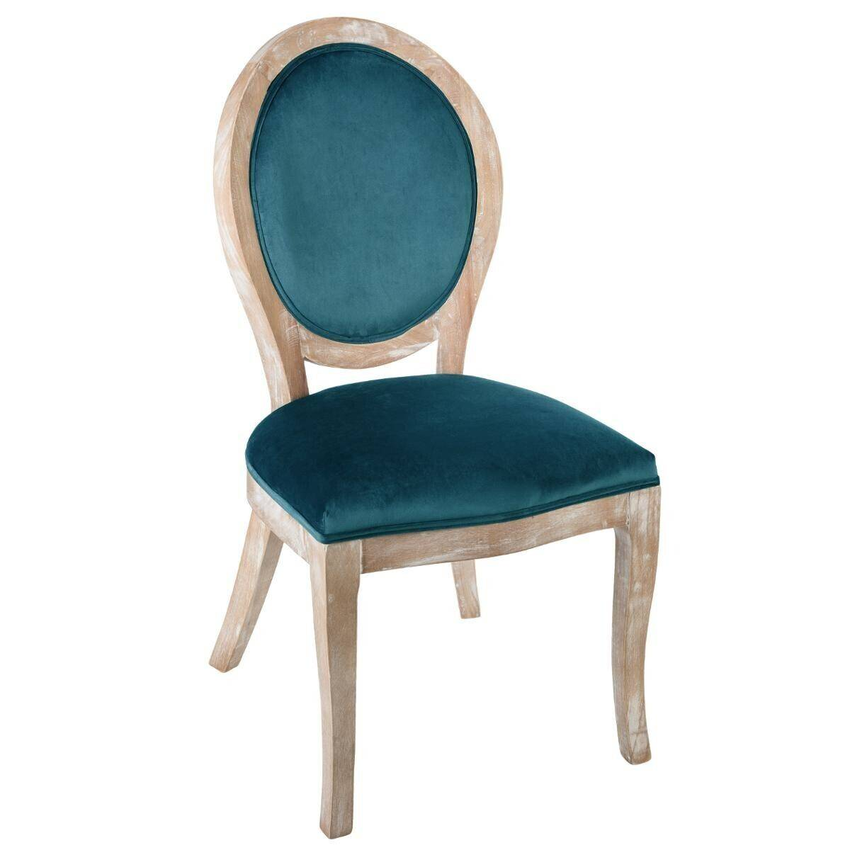 "Atmosphera Chaise Bleue ""Cléon"" en velours bois naturel"