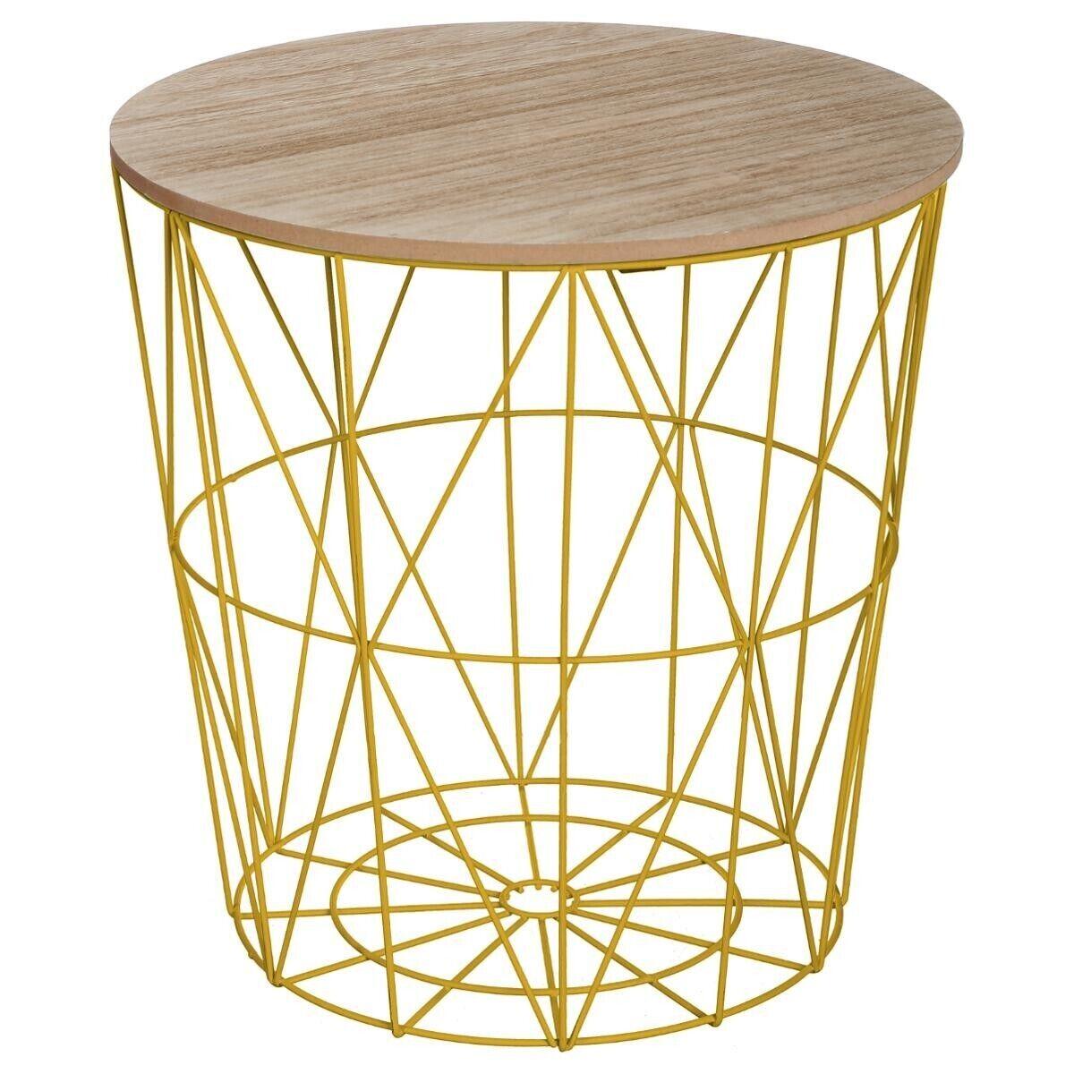 "Atmosphera Table à café Moutarde ""Kumi"" en métal Moyen modèle"