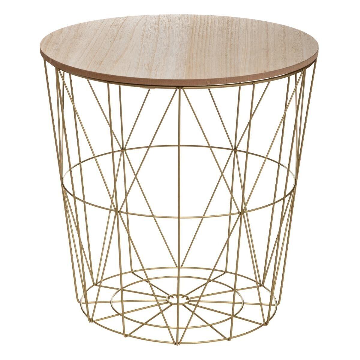 """Atmosphera Table à café Dorée """"Kumi"""" en métal Moyen modèle"""
